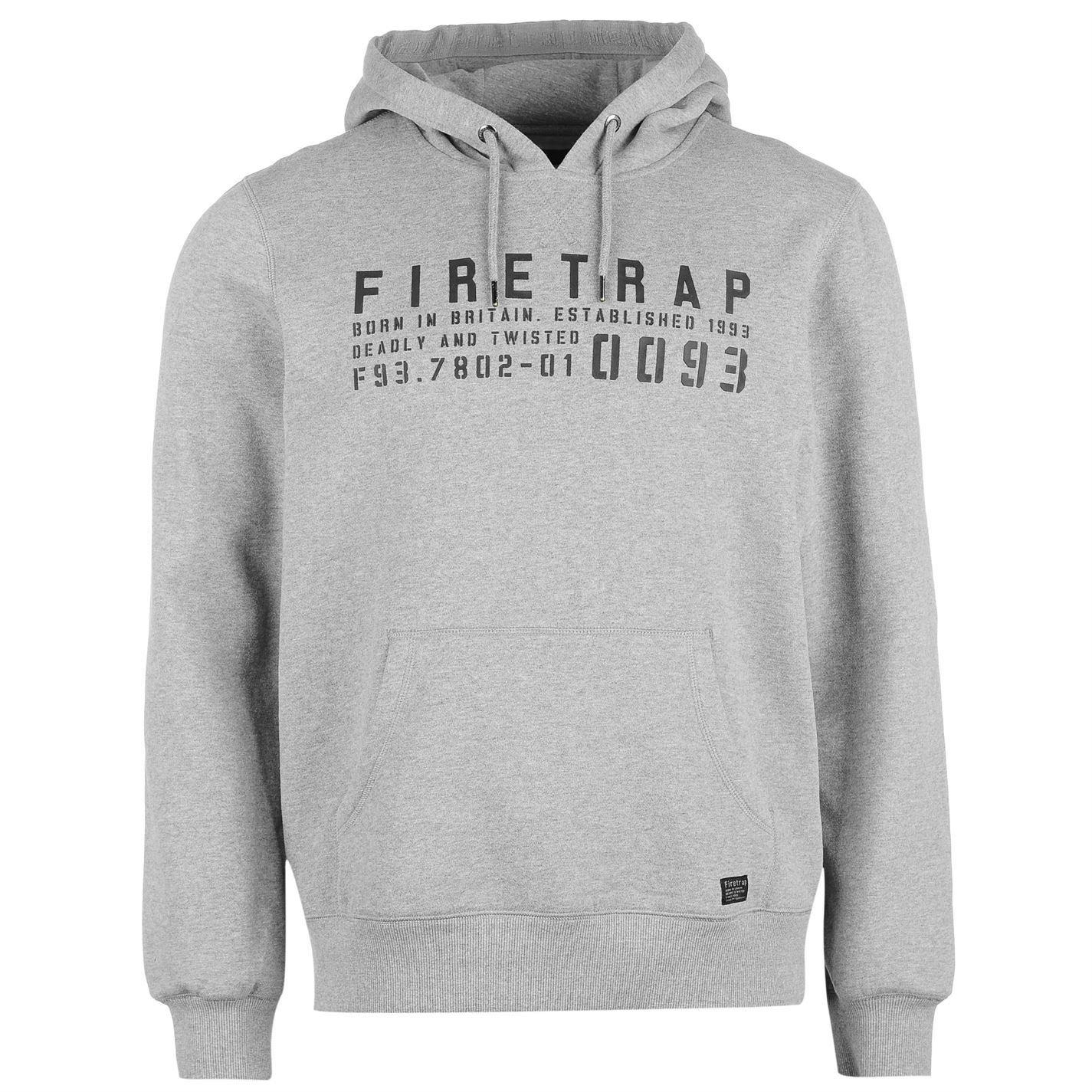 Firetrap Mens OTH Graphic Hoody Hoodie Hooded Top Long Sleeve Kangaroo Pocket