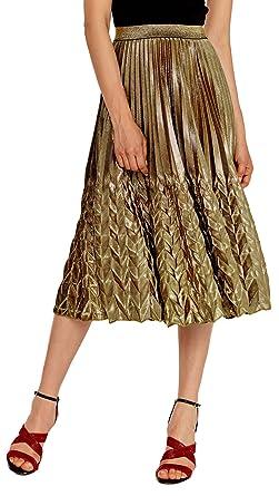 4c350cb5c Chartou Women's Glitter Metallic Chevron Pattern Gold & Silver Mid-Long  Accordion Pleated Skirts (