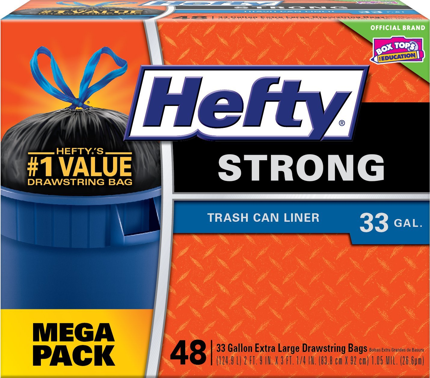 Hefty Strong Large Trash Bags 33 Gallon - Can Liner - 48 Count