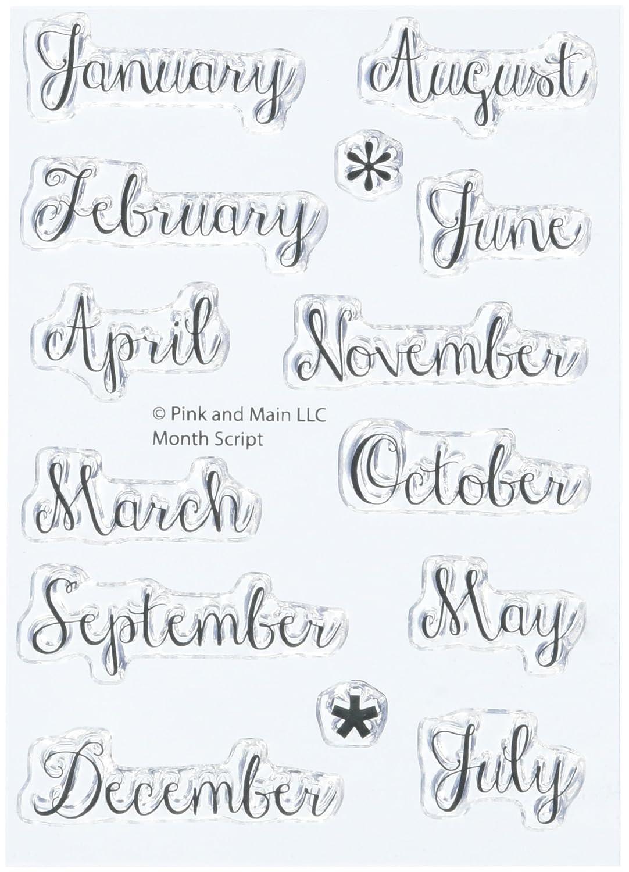 """Pink & Main, timbri Trasparenti """" Month Script"""" , in Acrilico, 7,6 cm x 10,2 cm, 2 Pezzi timbri Trasparenti Month Script 6cm x 10 2cm PM0140"""