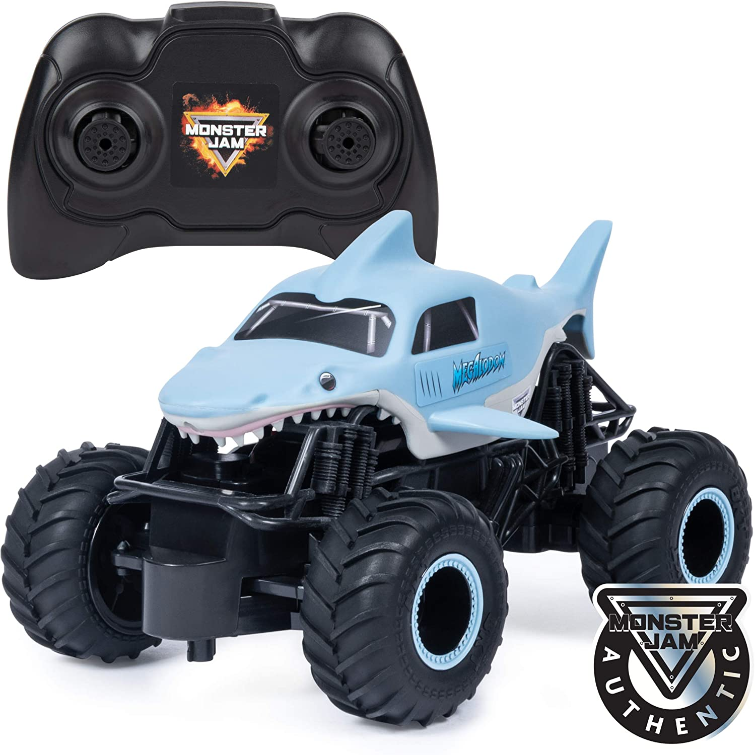Amazon Com Monster Jam Official Megalodon Remote Control Monster Truck 1 24 Scale 2 4 Ghz For Ages 4 Up Toys Games