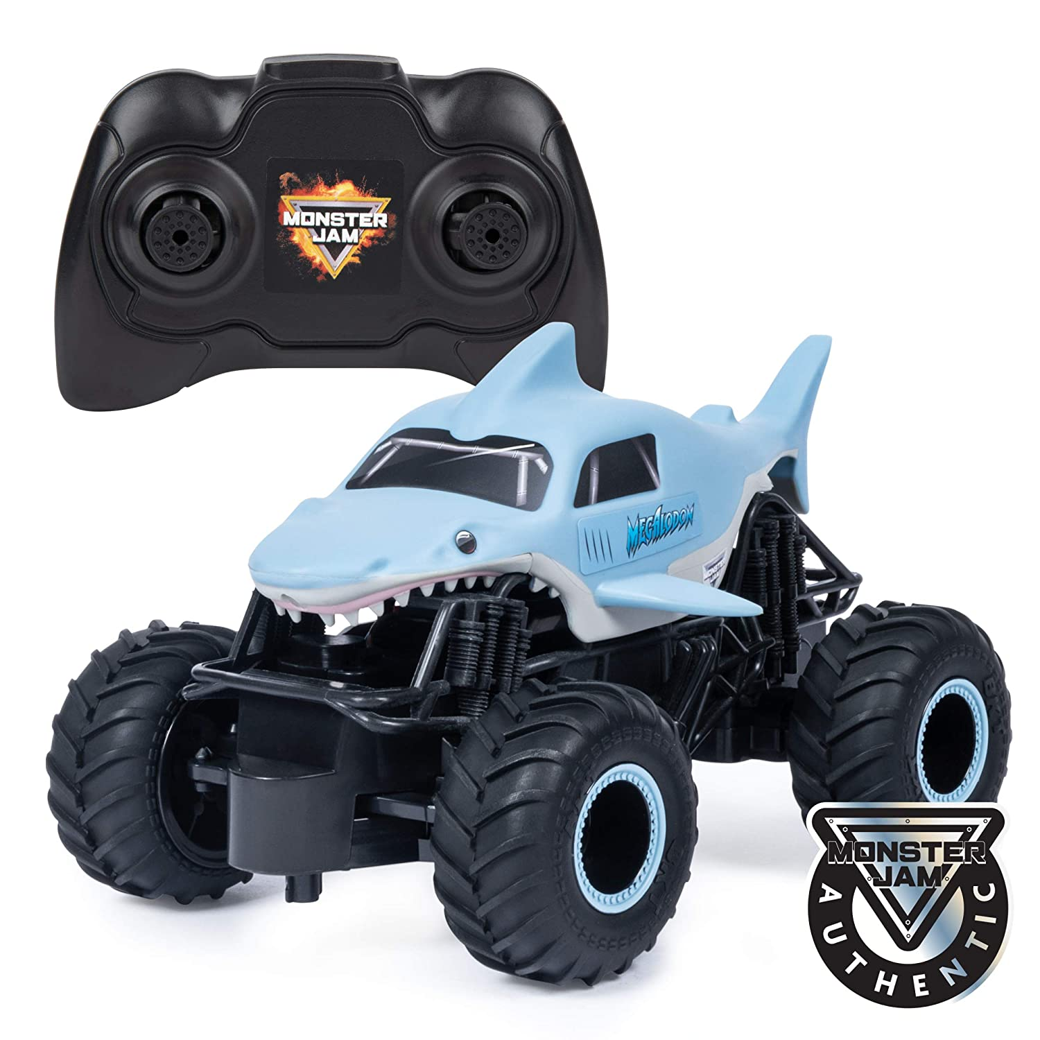 Monster Jam Official Megalodon Remote Control Monster Truck, 1:24 Scale, 2.4 GHz, for Ages 4 and Up