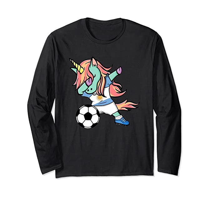a89e1b92138 Unisex Unicorn Soccer Argentina Jersey Long Sleeve Shirt Football Small  Black