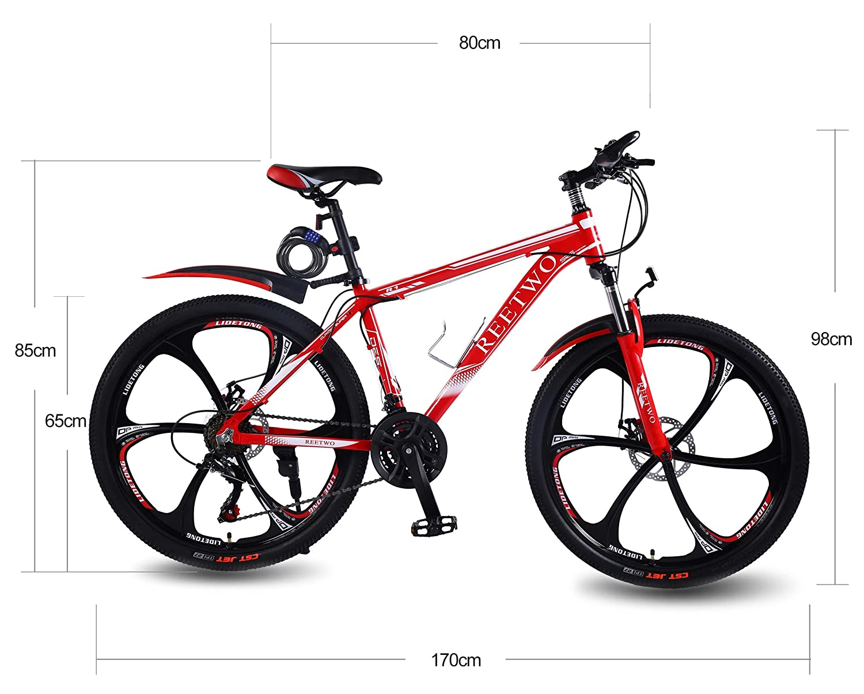 Fahrrad Hardtail f/ür Herren//Damen//Kinder REETWO Aluminium 26 Zoll Mountainbike Doppel Scheibenbremse 21 Gang Shimano Kettenschaltung