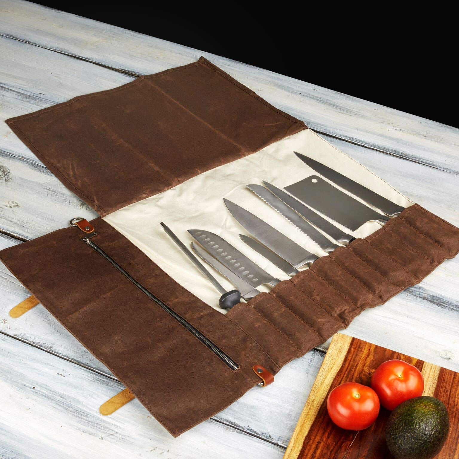 Chef Knife Roll Bag - Handmade Waxed Canvas and Leather Knife Bag Stores 10 Knives + Zipper Pocket and Shoulder Strap (Dark Brown) by Becken Leather Co. (Image #5)