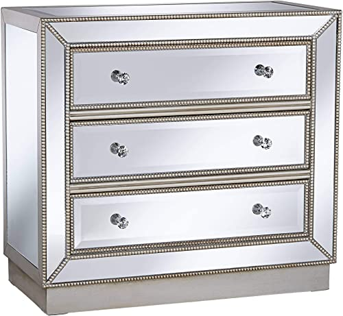 Trevi 32 Wide 3-Drawer Silver Mirrored Accent Chest