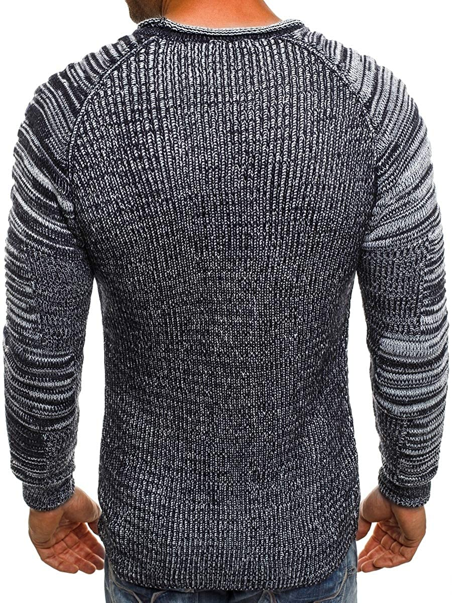 Coolred-Men Solid Long-Sleeve Knitwear Pullover Tops Crewneck Sweaters