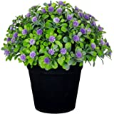 VGIA Small Artificial Plants for Home Decor Fake Flowers in Pot Lovely Decoration (Purple)