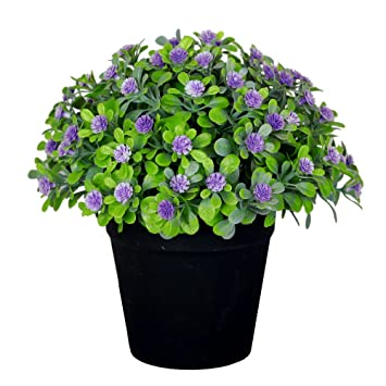 vgia small artificial plants for home decor fake flowers in pot lovely decoration purple - Flowers For Home Decor
