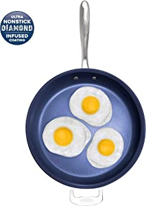 """Granite Stone Diamond 7074 Granite Stone Classic Blue Nonstick Frying Pan with Ultra Durable Mineral and Diamond Triple Coated Surface, Family Sized Open Skillet, Oven and Dishwasher Safe, 14"""""""