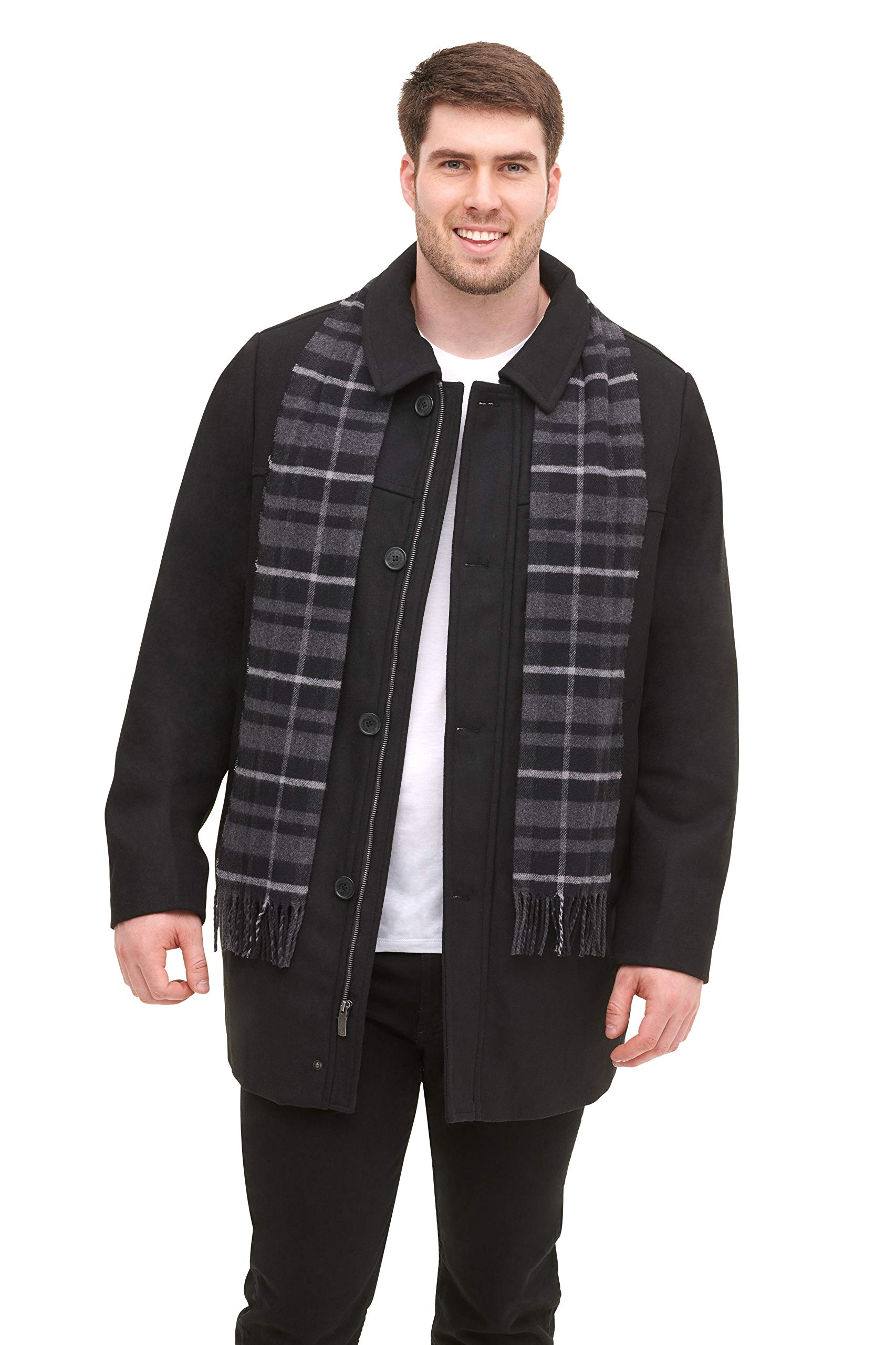 Dockers Men's Weston Wool Blend Car Coat with Scarf (Standard & Big-Tall Sizes), Black, 2X-Large by Dockers