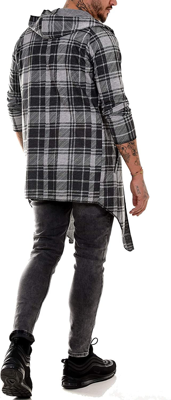 BAXMEN CULTWEAR Cardigan /à capuche pour homme Destroyed Long Vintage Slim Fit