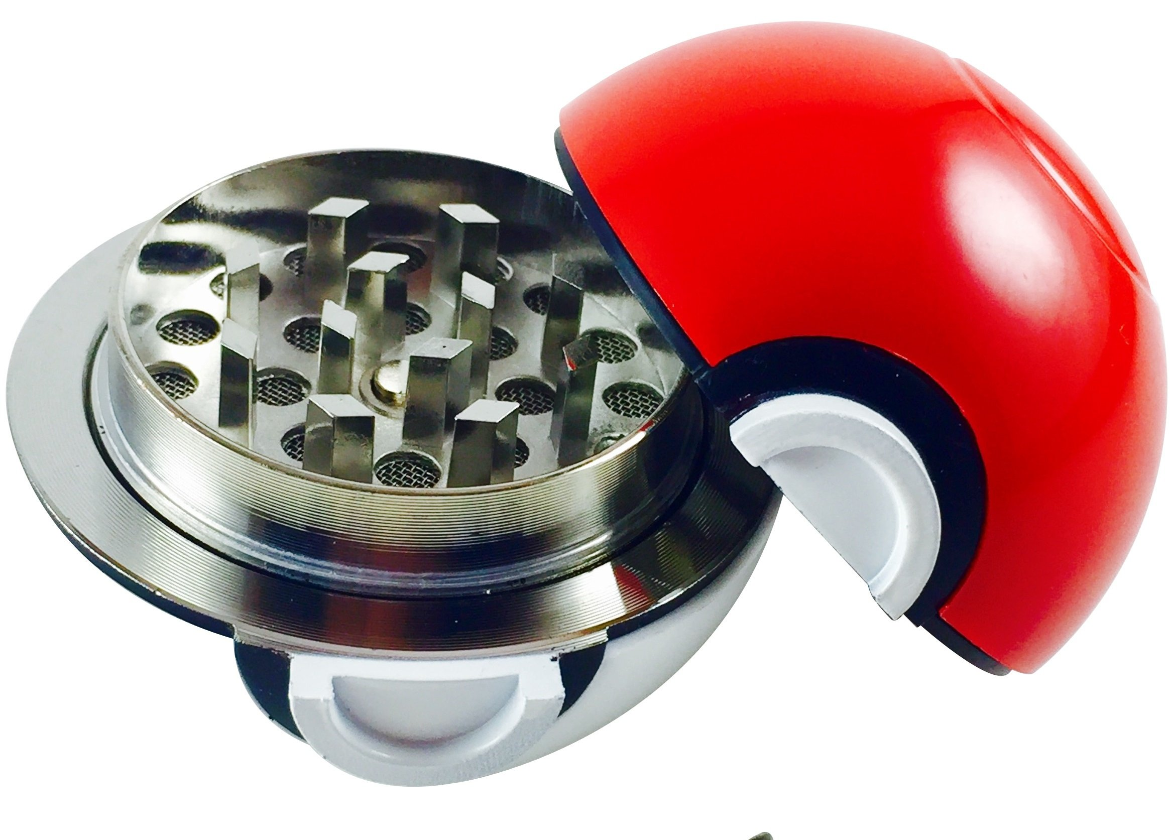 Pokeball Grinder, Pokemon Herb Spice & Tobacco Grinder Tool With Pollen Catcher & Bonus Kief Scraper, 3 Part Grinder, 2.2 Inches, By Official