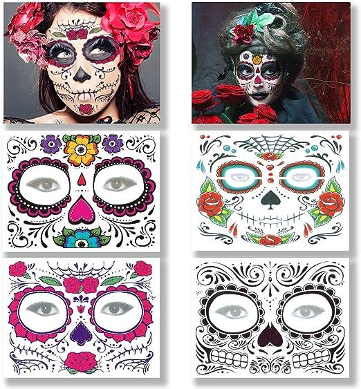 Tatuaje facial temporal, 4 Hojas Tatuajes del cráneo del azúcar ...