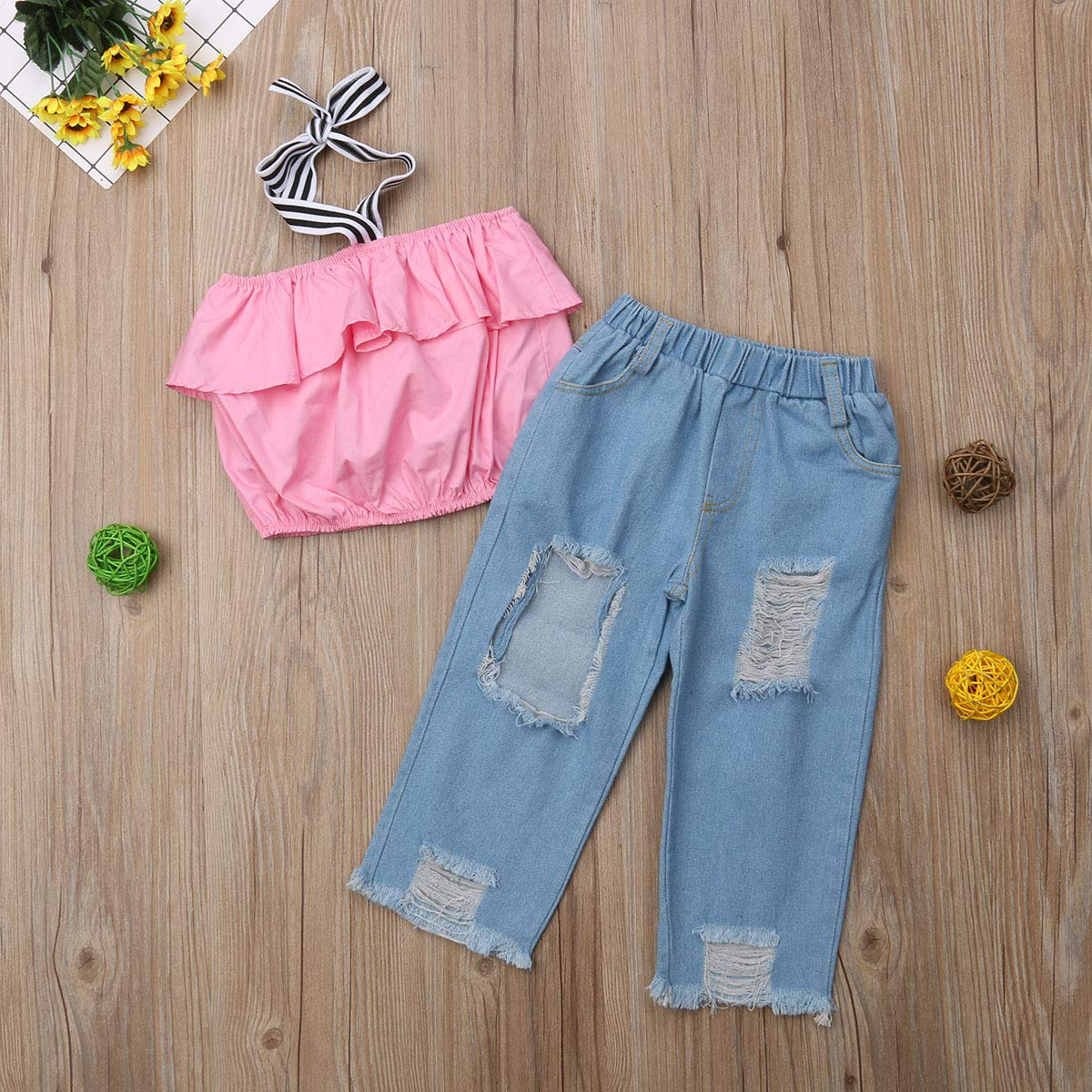 Greenafter Kid Baby Girls Ruffle Tops Destroyed Ripped Jeans 2pcs Clothing Outfit Set