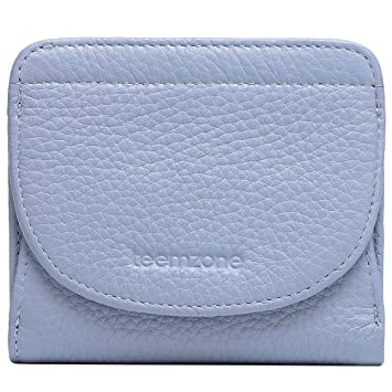 879663f9e03d8 Geldbörse Damen Klein Leder RFID Schutz mit Münzfach Mini Portemonnaie  Portmonee Brieftasche Frauen TEEMZONE(Blau