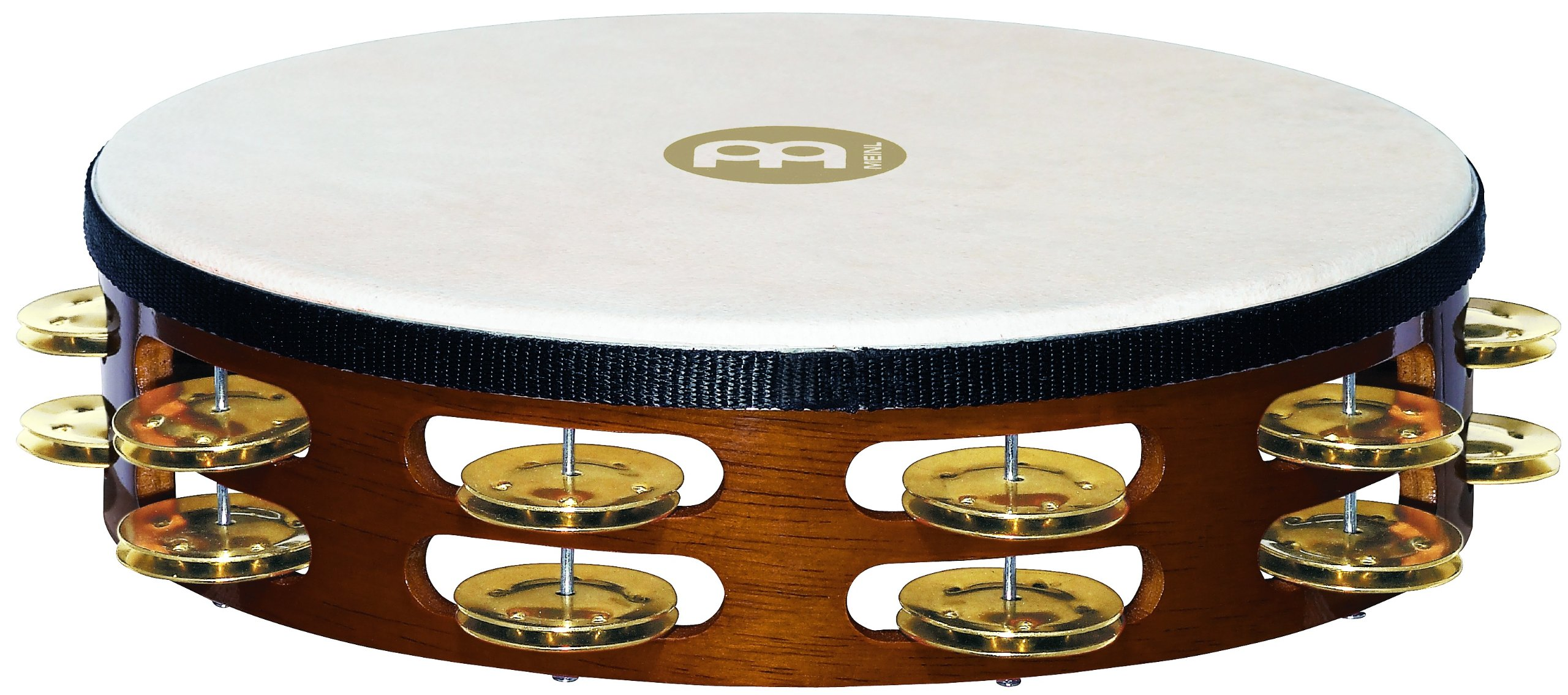 Meinl Percussion TAH2B-AB Traditional 10-Inch Wood Tambourine with Goat Skin Head and Brass Jingles, 2 Row