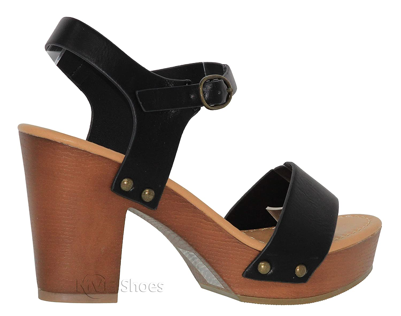 MVE Shoes Womens Ankle Strap Faux Wood Platform Chunky Heel Sandal