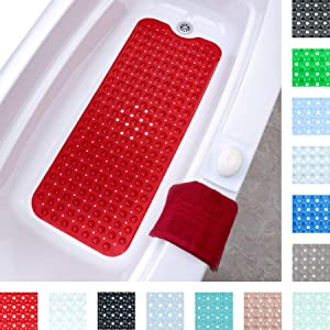 "SlipX Solutions Red Extra Long Bath Mat Adds Non-Slip Traction to Tubs & Showers - 30% Longer Than Standard Mats! (200 Suction Cups, 39"" Long Bathtub Mat)"