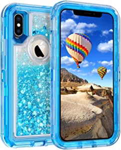 Coolden Case for iPhone X Case Protective Glitter Case for Women Girls Cute Bling Sparkle Quicksand Heavy Duty Hard Shockproof TPU Cover for 5.8 Inches Apple iPhone X iPhone 10, Blue