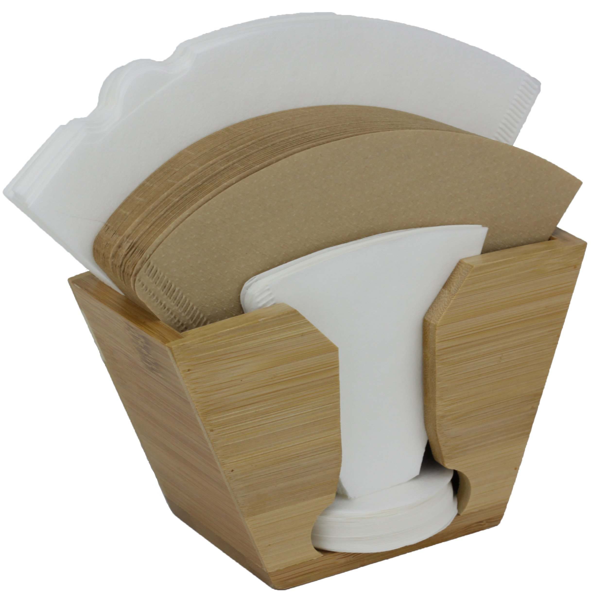 Coffee Filter Holder made from sustainable natural Bamboo. Imagine never looking the ugly ripped open paper filter box again that gets damp and wet on our counter. Fits all sizes: #4, 6 Millita, Hari
