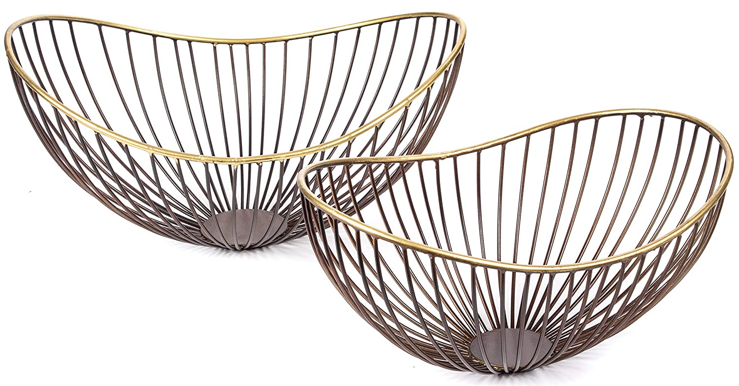 RED FIG HOME Decorative Metal Wire Bowls – Set of 2 – Wire Fruit Bowl with Bronze Gold Finish – Home Décor Accent & Table Centerpiece