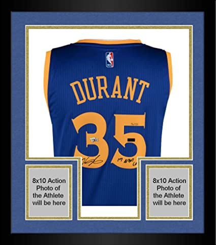 Framed Kevin Durant Golden State Warriors Autographed Blue Authentic Jersey  with quot 17 NBA Champ quot  df37a8ea7