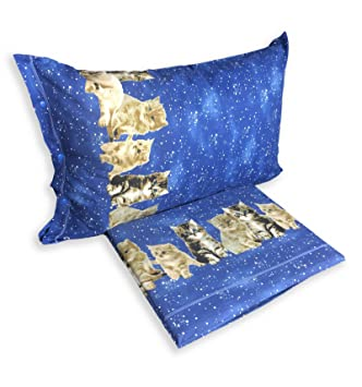 tex family completo sábana sábanas Naturaleza Gato Gatos Noche Azul - 1 plaza: Amazon.es: Hogar