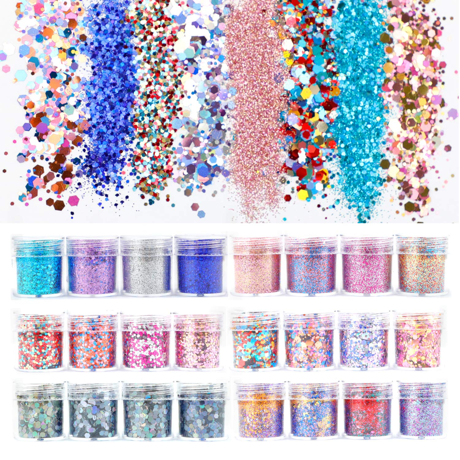 Multiple Combinations Mixed Size Colorful Finger Nail Art Glitter Chunky Sequins Iridescent Flakes Paillette For Nail Face Body Hair Makeup, Glitter Nail Decorations (16) SWANSTAR