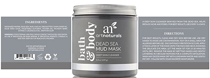 Art Naturals Dead Sea Mud Mask: A Deep Skin Cleanser Derived From the Dead Sea Ahava - Time To Hydrate Hydration Cream Mask - 100ml/3.4oz