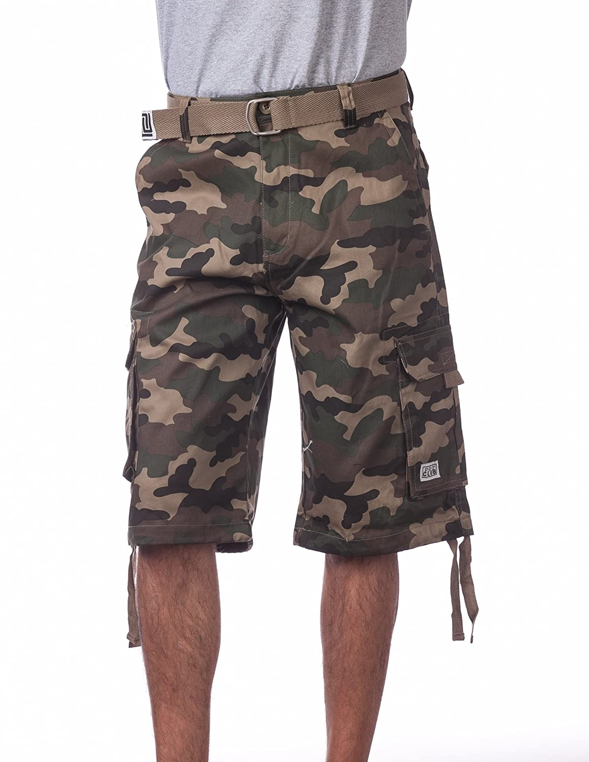 Pro Club Men's Cotton Twill Cargo Shorts with Belt - Regular and Big & Tall Sizes 166