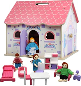Beverly Hills Wooden Take Along Dollhouse with Furniture and Family Doll Figures - Fully Furnished Kitchen, Living Room, Bedroom, Bathroom Accessories for Toddlers and Kids
