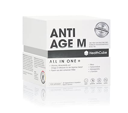 HealthCube® ANTI AGE M, complemento alimenticio premium para hombres (mes
