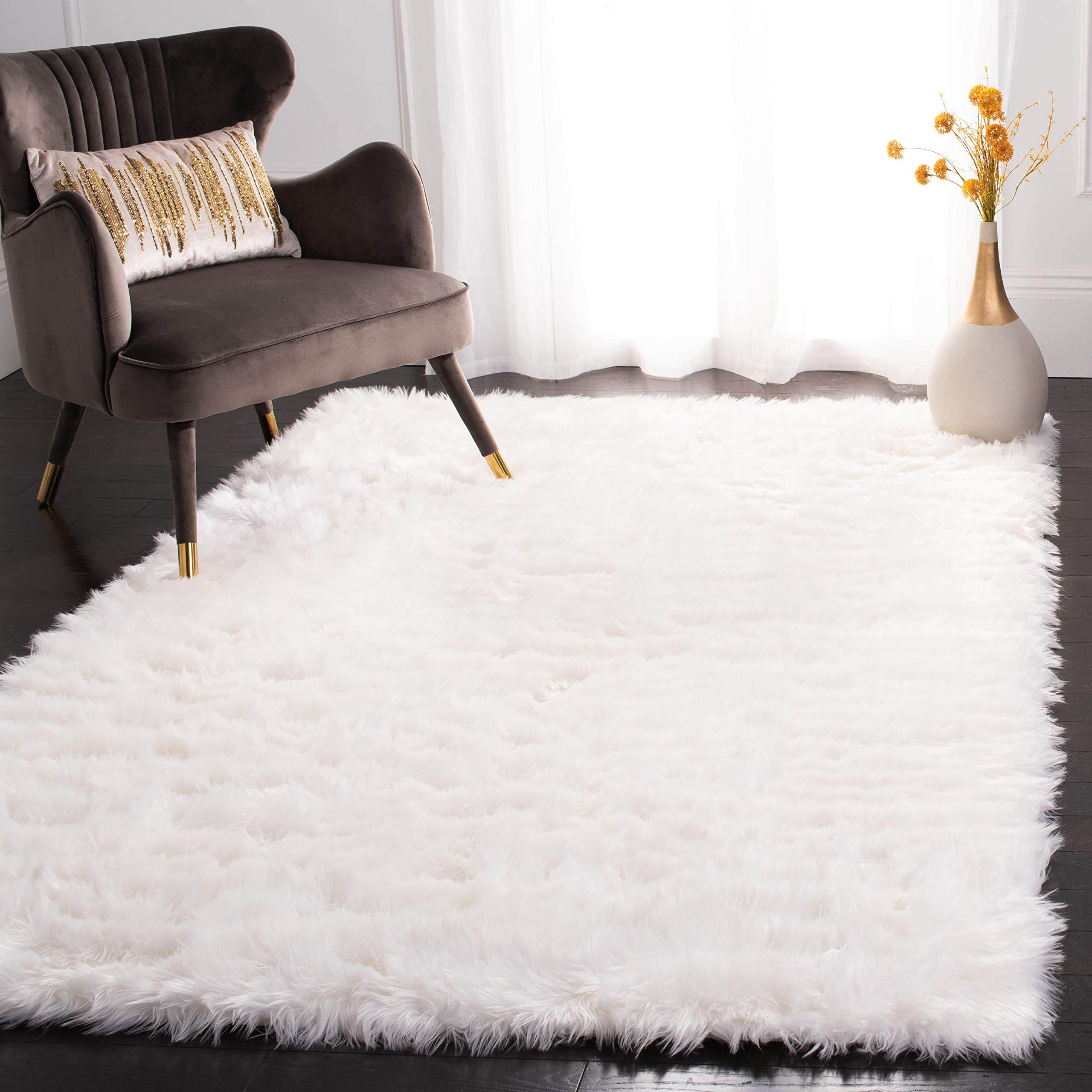 Safavieh Faux Sheep Skin Collection FSS235A Silken Glam 2.35-inch Thick Area Rug, 4' x 6', Ivory