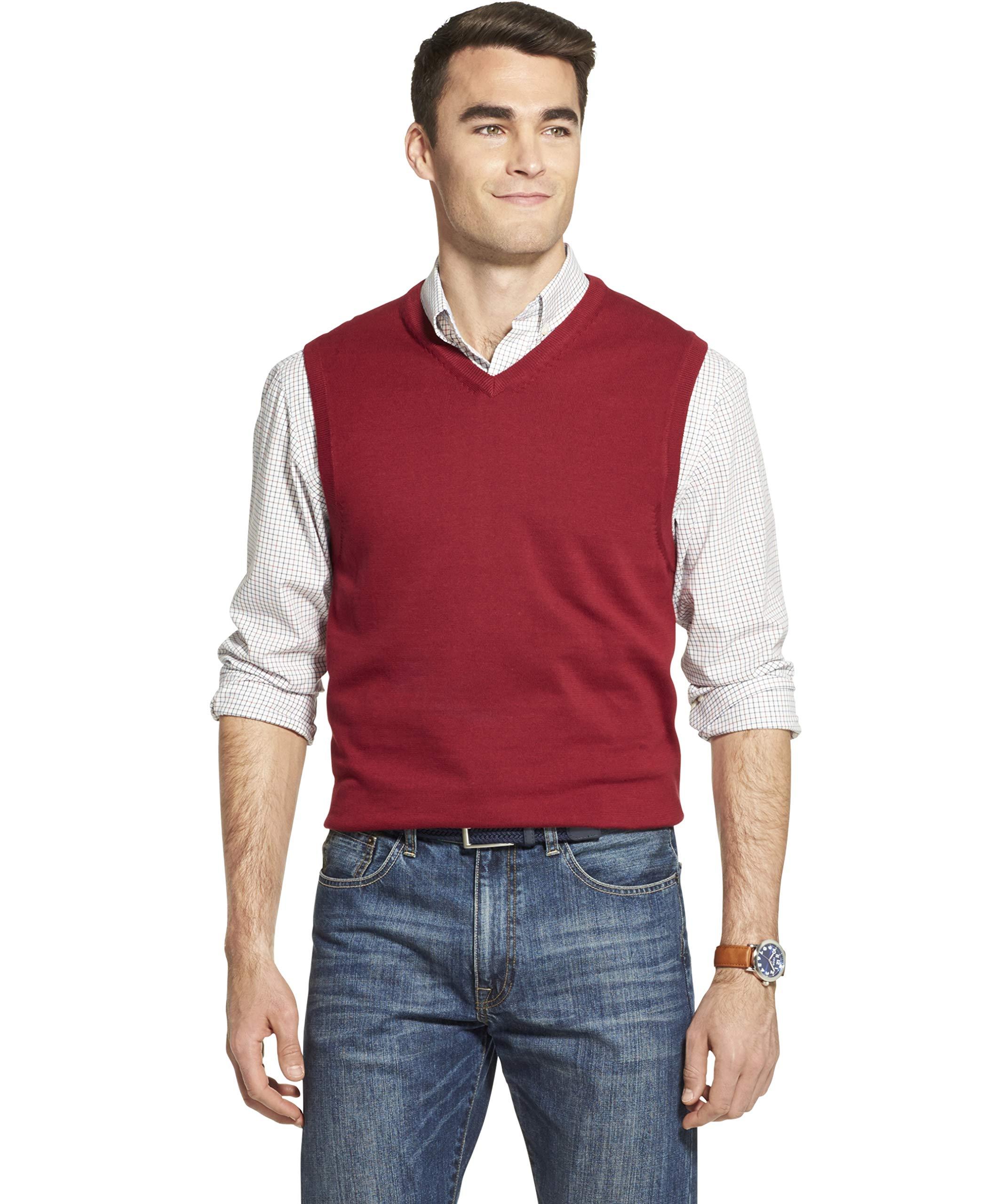 IZOD Men's Premium Essentials Solid V-Neck 12 Gauge Sweater Vest, BIKING RED, Small by IZOD