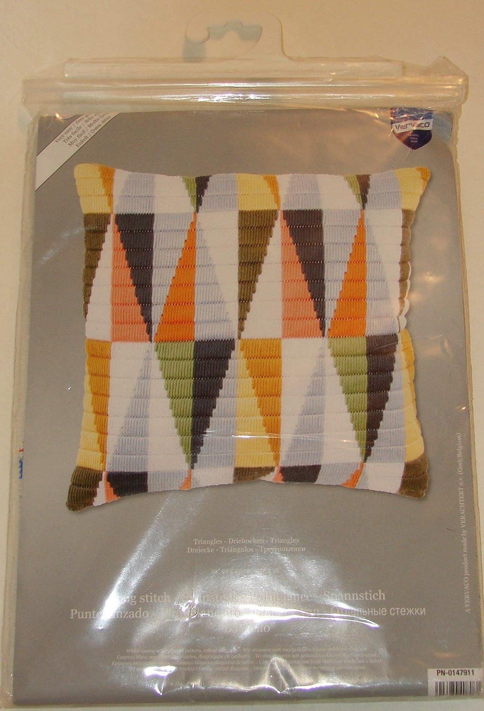 dise/ño de tri/ángulos Multicolor Vervaco Kit para coj/ín de Ganchillo