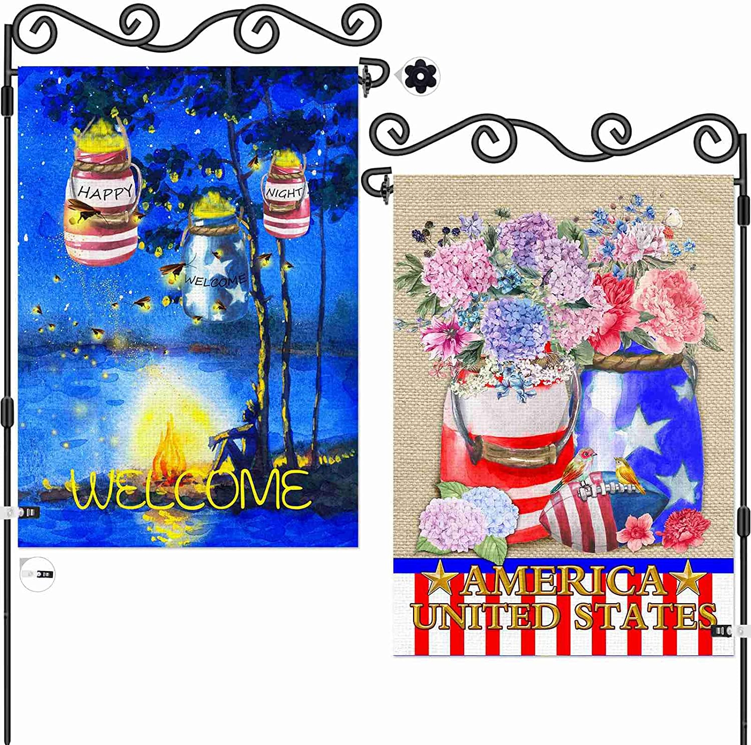 AOKDEER Summer Garden Flag 12.5x18 Prime, 2-in-1 Double Sided Burlap Summer Party Decor House Flags, American Flag Patriotic Yard Signs Gift for Patio Lawn Outdoor Decor, Different Front and Back Flag