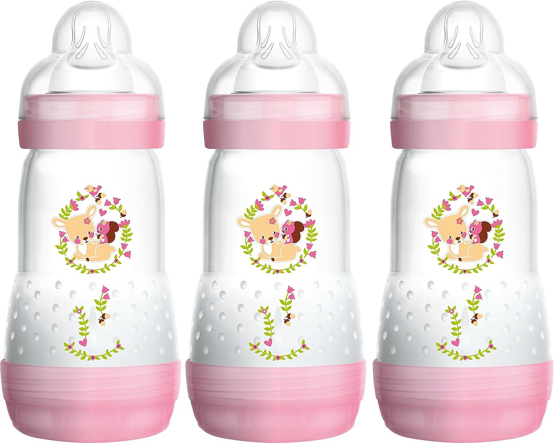 MAM Anti Colic Flaschen 260ml Dreierpack für Mädchen (2+ Monate) FB0503G