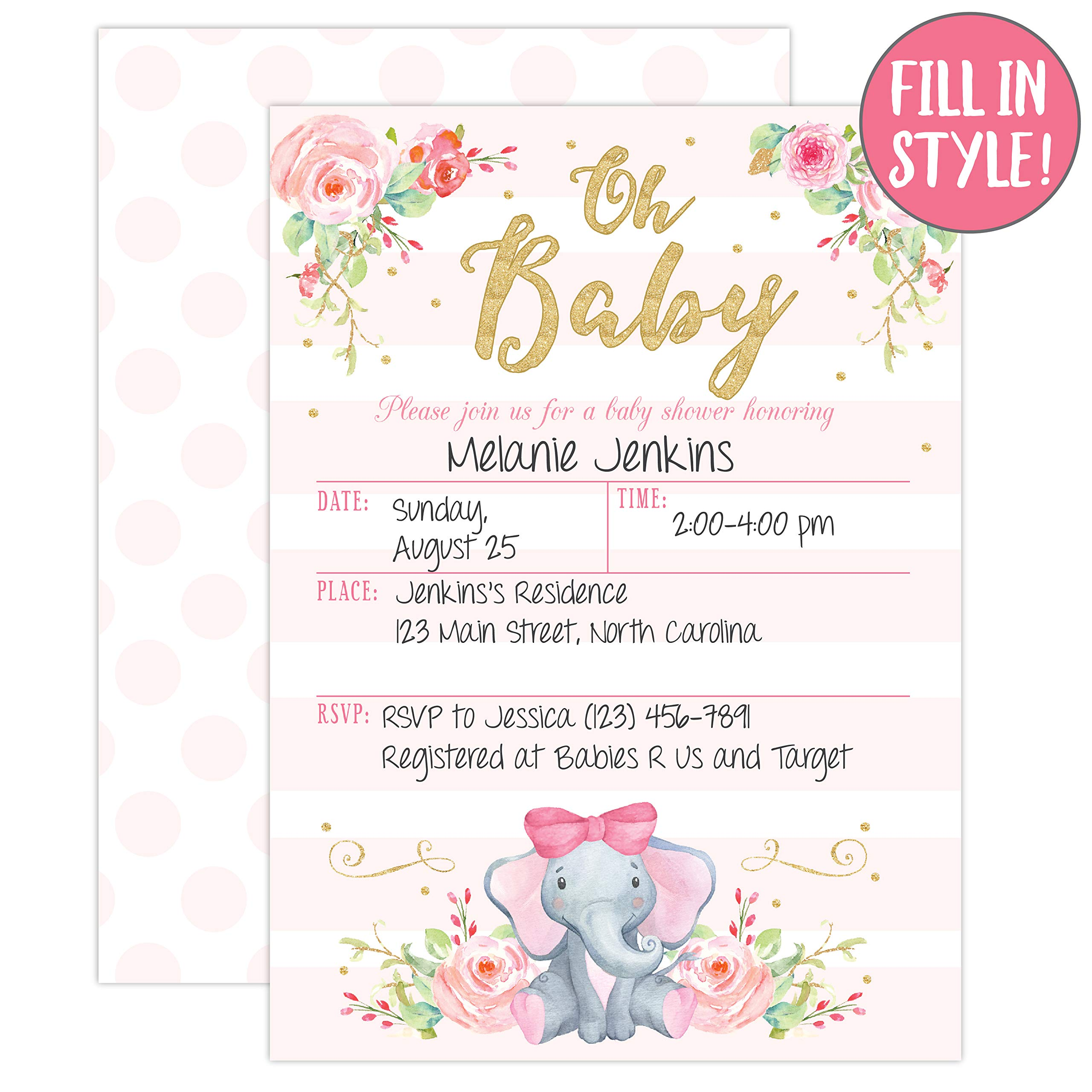 Coed Pink Rustic Gender Reveal Theme Greenery Garden Party Supplies 25 Girl Elephant Baby Shower Invitations Sprinkle Invite for Girl Cute Animal Peanut DIY Fill or Write in Blank Printable Card