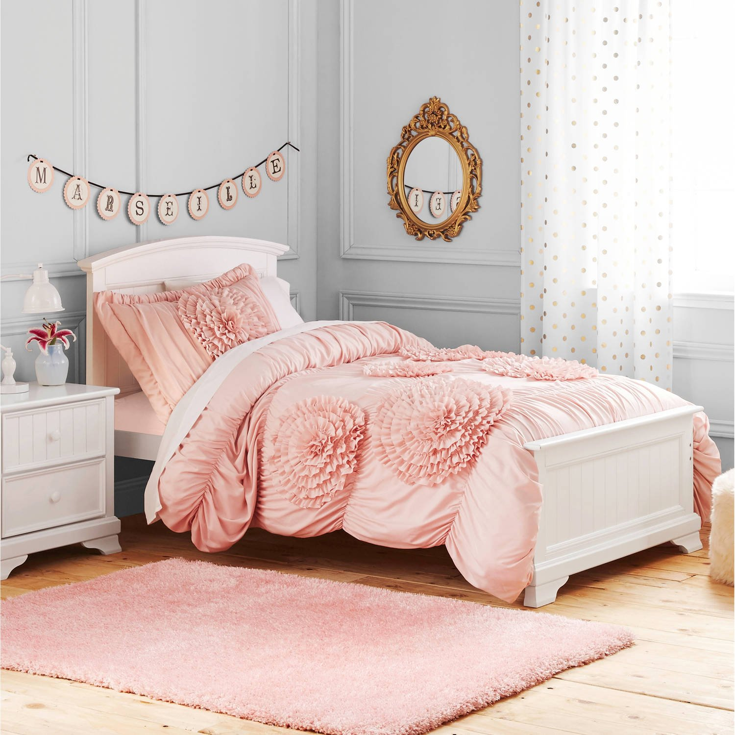 3 Piece Kids Blush Pink Luxury Ruffle Floral Pattern Comforter Full Queen Set, Handcrafted Ruffled Light Pink Flowers Bedding Ruched Texture Design, Boho Chic Hippie Indie Bohemian Style, Polyester
