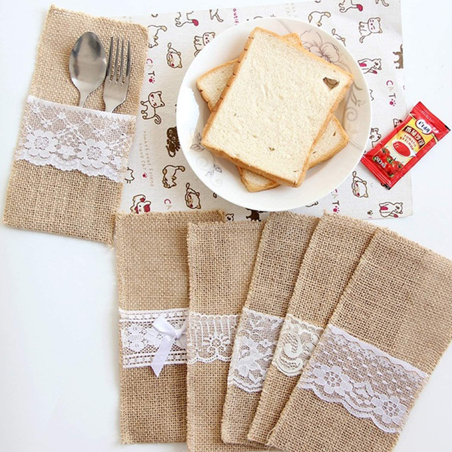 SIMIN 20 PCS Jute Lace Cutlery Holder,Natural Burlap Utensil Holders Knifes Forks Bag for Birthday Wedding Party Decorations