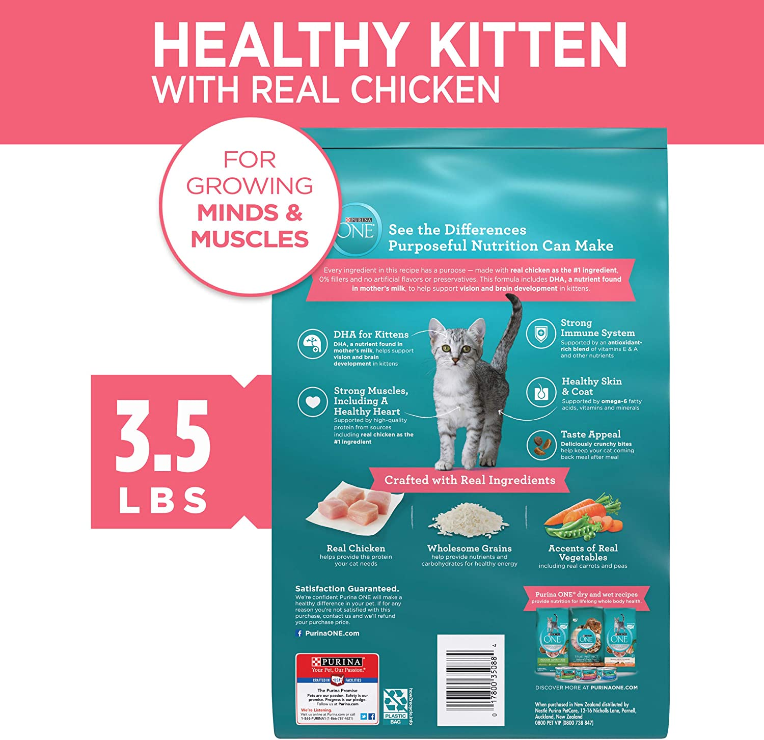 Amazon Com Purina One Natural Dry Kitten Food Healthy Kitten 3 5 Lb Bag Pet Supplies