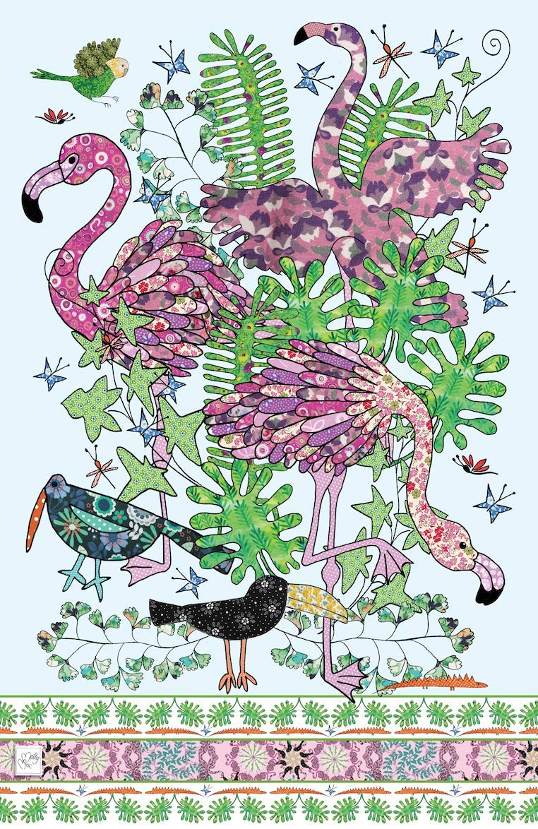MollyMac Flamingo Tea Towel Pink Kitchen Home Decor, Exotic Dish Cloth. Inexpensive Thank You Gift, Present for Wedding, Birthday, Christmas - Made in UK British Design • Three Amigos
