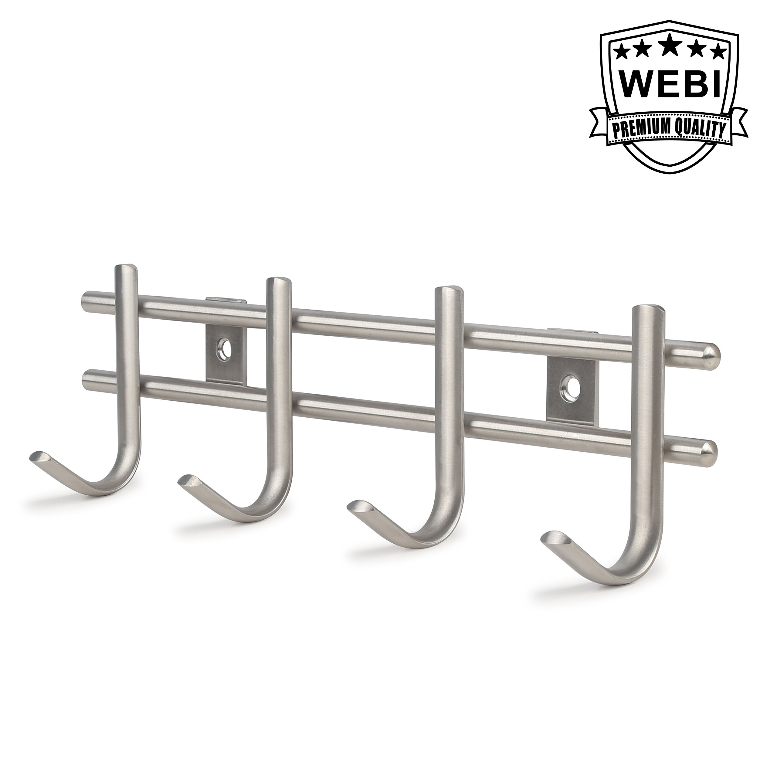 WEBI Bath Kitchen Towel Hook, SUS 304 Sturdy Robe Hat Coat Garment Rack Rail Hanger Holder, Wall Mount Closet Clothing Bathroom Garage, Brushed finish,J-II04-1
