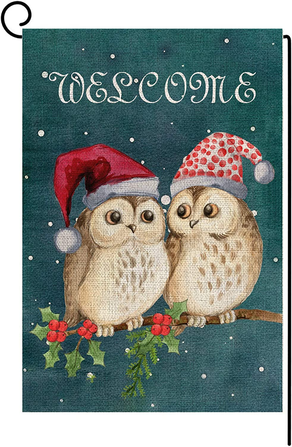 LANMEI Cute Owl Christmas Garden Flag Vertical Double Sided Welcome Garden Flag, Christmas Winter Holiday Rustic Yard Outdoor Decoration 12.5 x 18 Inch