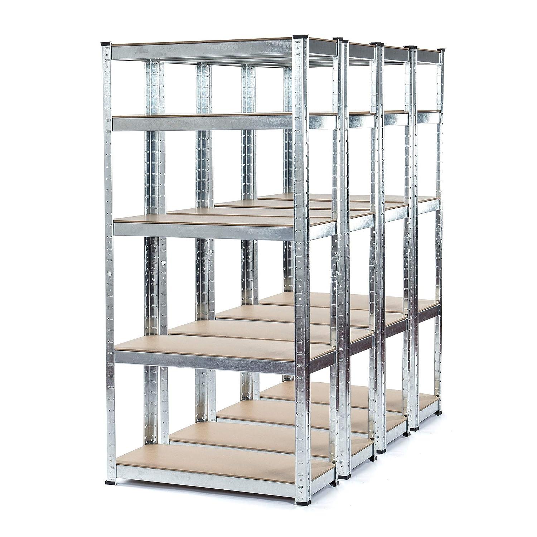 Estanter/ía galvanizada resistente para garaje de 4 bah/ías 150 kg por estante 5 niveles, 1500 mm de alto x 700 mm de ancho x 300 mm de profundidad