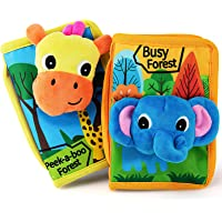 teytoy Baby Quiet Books Animal Cloth Book Infant Soft Activity Books Crinkle and Vibrant Pages 3D Learn Book Toddlers…