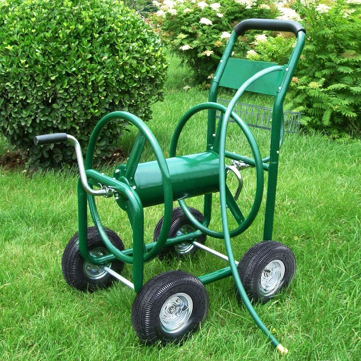 MasterPanel - Garden Water Hose Reel Cart 300FT Outdoor Heavy Duty Yard Planting W/Basket #TP3417 by MasterPanel