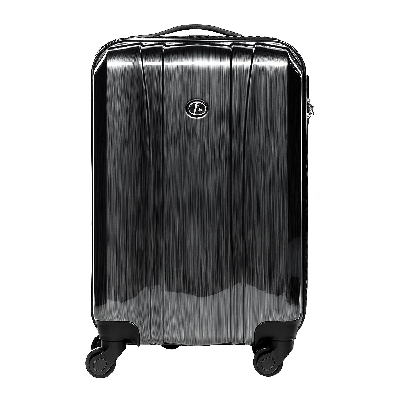 FERGÉ® Handgepäck-Koffer leicht Dijon Bordgepäck-Koffer Hartschale | Reisekoffer Kabinentrolley mit 4 Zwillingsrollen (360°) genehmigt für Ryanair, Easyjet, Lufthansa etc | Koffer graphite-metallic