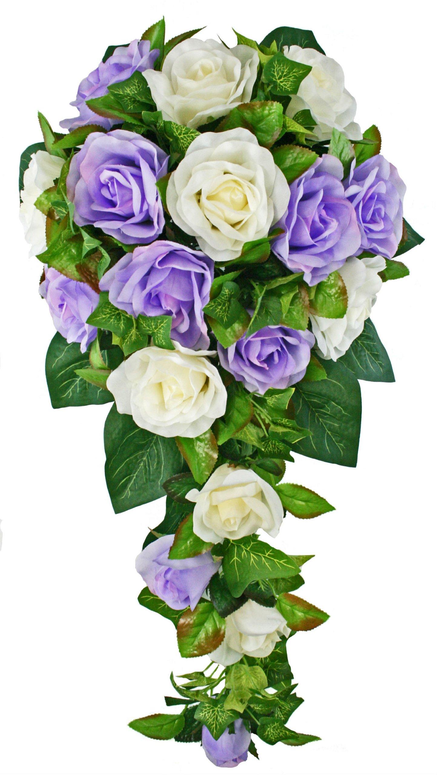 Lavender and Ivory Silk Rose Cascade - Bridal Wedding Bouquet